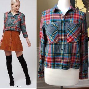 TopShop Bright Tartan Check Shirt Cropped Flannel